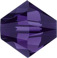 Swarovski Crystal Beads 5mm bicone 5328 purple velvet (dark royal purple) transparent