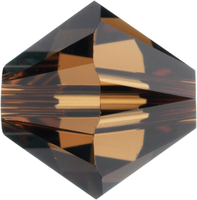 Swarovski Crystal Beads 5mm bicone (5301 and 5328) smoked topaz (dark brown) transparent