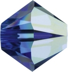 Swarovski Crystal Beads 5mm bicone (5301 and 5328) sapphire ab (blue) transparent iridescent