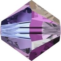Image Swarovski Crystal Beads 6mm bicone 5328 amethyst ab 2X (dark purple) transparent