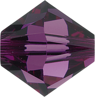 Swarovski Crystal Beads 6mm bicone (5301 and 5328) amethyst (dark purple) transparent