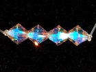 Swarovski Crystal Beads 6mm bicone 5328 light amethyst ab 2X (light purple) transparent double iridescent