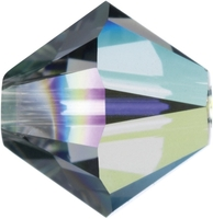 Swarovski Crystal Beads 6mm bicone (5301 and 5328) black diamond ab (grey) transparent iridescent