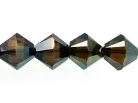 Swarovski Crystal Beads 6mm bicone (5301 and 5328) crystal bronze shade 2X full coat
