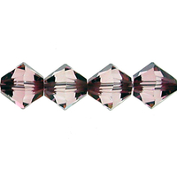 Swarovski Crystal Beads 6mm bicone 5328 crystal antique pink transparent with finish