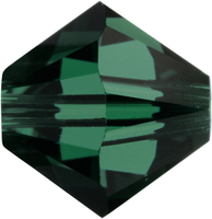 Image Swarovski Crystal Beads 6mm bicone 5328 emerald (dark green) transparent