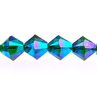 Swarovski Crystal Beads 6mm bicone 5328 emerald ab 2X (dark green) transparent double iridescent