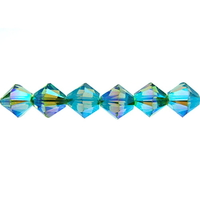 Swarovski Crystal Beads 6mm bicone 5328 erinite ab 2X (blueish green) transparent double iridescent