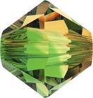 Swarovski Crystal Beads 6mm bicone 5328 fern green topaz blend transparent