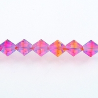 Swarovski Crystal Beads 6mm bicone 5328 fire opal ab 2X (red & orange) transparent double iridescent