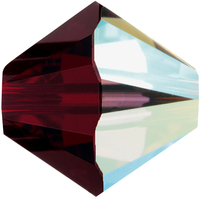 Swarovski Crystal Beads 6mm bicone 5328 garnet ab (dark red) transparent iridescent