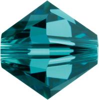 Swarovski Crystal Beads 6mm bicone 5328 indicolite (blue green) transparent