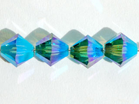 Swarovski Crystal Beads 6mm bicone 5328 indicolite ab 2X (blue green) transparent double iridescent