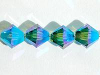 Image Swarovski Crystal Beads 6mm bicone 5328 indicolite ab 2X (blue green) transparen