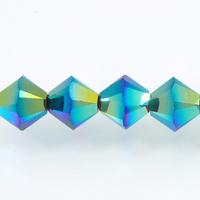 Image Swarovski Crystal Beads 6mm bicone 5328 jet ab 2X (black) opaque double iridesce