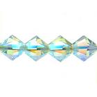 Swarovski Crystal Beads 6mm bicone (5301 and 5328) light azore ab 2X (pale aqua blue) transparent double iridescent
