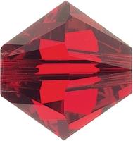 Swarovski Crystal Beads 6mm bicone 5328 light siam (light red) transparent