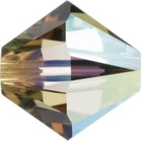 Image Swarovski Crystal Beads 6mm bicone 5328 light colorado topaz ab (light brown) tr