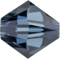 Swarovski Crystal Beads 6mm bicone (5301 and 5328) montana (greyish blue) transparent