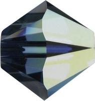 Image Swarovski Crystal Beads 6mm bicone 5328 montana ab (greyish blue) transparent ir