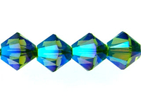 Swarovski Crystal Beads 6mm bicone 5328 olivine ab 2X (olive green) transparent double iridescent