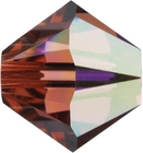 Swarovski Crystal Beads 6mm bicone (5301 and 5328) padparadscha ab (bright peachy pink) transparent iridescent