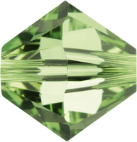 Swarovski Crystal Beads 6mm bicone (5301 and 5328) peridot (light green) transparent