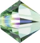 Swarovski Crystal Beads 6mm bicone 5328 peridot ab (light green) transparent iridescent