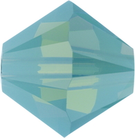 Swarovski Crystal Beads 6mm bicone 5328 pacific opal (blue green) opalescent