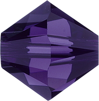 Swarovski Crystal Beads 6mm bicone 5328 purple velvet (dark royal purple) transparent