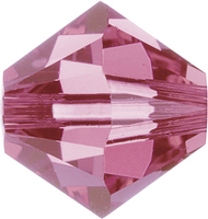 Swarovski Crystal Beads 6mm bicone (5301 and 5328) rose (pink) transparent