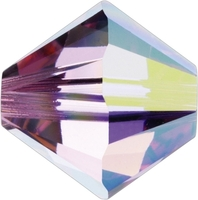 Image Swarovski Crystal Beads 6mm bicone 5328 rose ab (pink) transparent iridescent