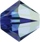Swarovski Crystal Beads 6mm bicone 5328 sapphire ab (blue) transparent iridescent