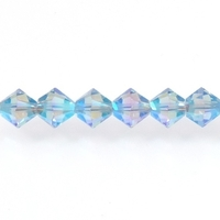 Swarovski Crystal Beads 6mm bicone 5328 light sapphire ab 2X (pale blue) transparent double iridescent