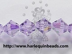 Swarovski Crystal Beads 6mm bicone (5301 and 5328) violet ab (purple) transparent iridescent