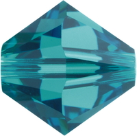 Image Swarovski Crystal Beads 6mm bicone 5328 blue zircon (blue green) transparent