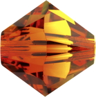 Swarovski Crystal Beads 8mm bicone (5301 and 5328) fire opal (red & orange) transparent