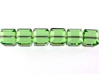 Swarovski Crystal Beads 4mm cube (5601) peridot (light green) transparent