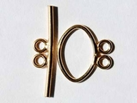 14k goldfill 17mm 2 strand toggle clasp gold