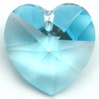 Swarovski Pendants 14mm heart (6202 and 6228) aquamarine (aqua blue)