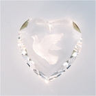 18mm heart, crystal with etched Dove