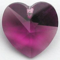 Swarovski Pendants 10mm heart (6202 and 6228) amethyst (dark purple)