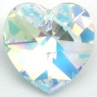 Swarovski Pendants 18mm heart (6202 and 6228) crystal ab (clear)