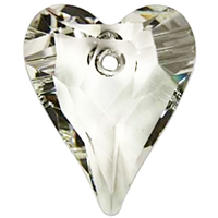 Swarovski Pendants 17mm wild heart pendant 6240 crystal silver shade