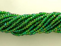 Seed Beads Czech Charlotte size 11 green ab transparent iridescent