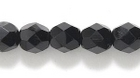 Czech Pressed Glass 6mm faceted round black opaque