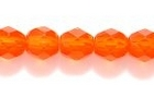 Czech Pressed Glass 6mm faceted round orange transparent