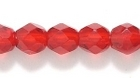 Czech Pressed Glass 6mm faceted round ruby red transparent