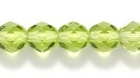 Czech Pressed Glass 6mm faceted round peridot green transparent