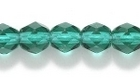 Czech Pressed Glass 6mm faceted round dark emerald green transparent